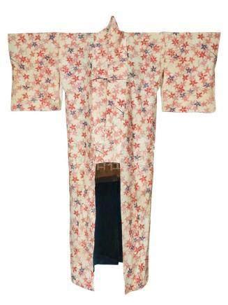 KIMONO en soie à décor imprimé de parsemé…