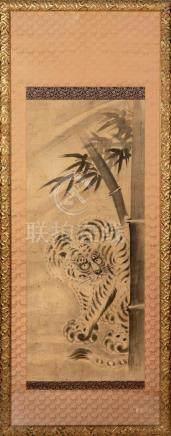 KAKEMONO encadré représentant un tigre sous…