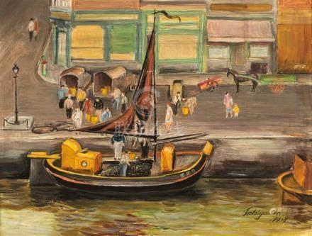 TAKIYAMA Le port d'Anvers Bateau à moule…