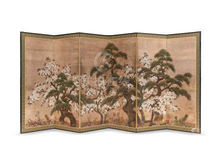 PARAVENT à six feuilles en papier gouaché…