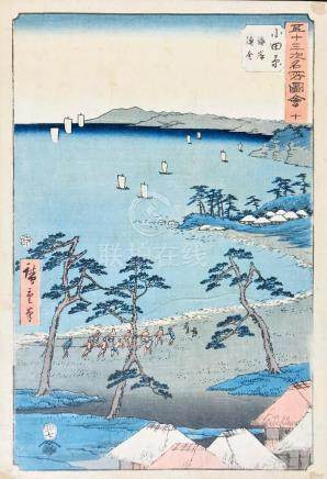 HIROSHIGE. Odawara: Fishermen's Huts Along the Coast.