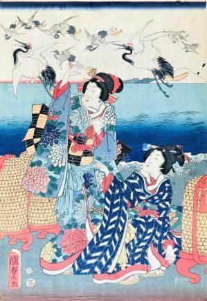 KUNISADA. Two ladies with herons in flight.