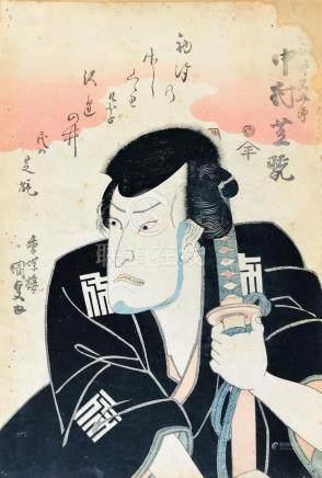 KUNISADA. Yakusha-e. Half-length portrait of a Kabuki actor.