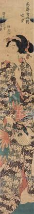 KUNISADA. Full-length Portrait of a Beauty. Vertical Diptych