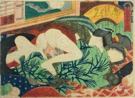 KUNISADA. SHUNGA-Erotic Print. Two women and a man.
