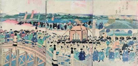 Japanese print. Emperor Meiji enters Tokyo. Triptych.