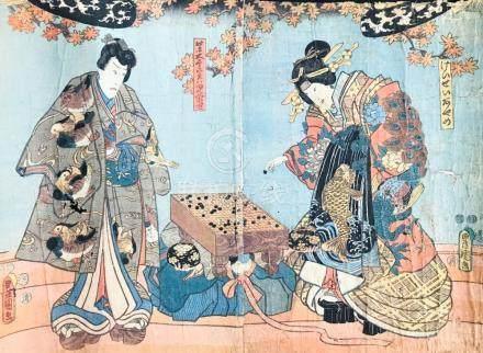 "KUNISADA. Nobleman and Princess playing ""go"" game. Diptych."
