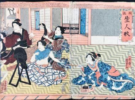 KUNIYOSHI. Fashionable Living Dolls. A scene in a brothel. D