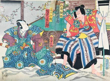 KUNISADA. Agemaki and Sukeroku. Scenes from Kabuki plays. Di