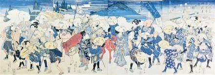 Ryusai SHIGEHARU SHIGEHARU. Parade of courtiers in blue clot