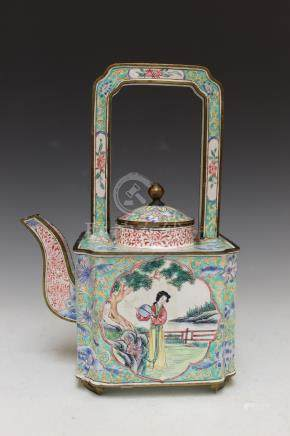 Chinese enamel on copper teapot. 19th Century.