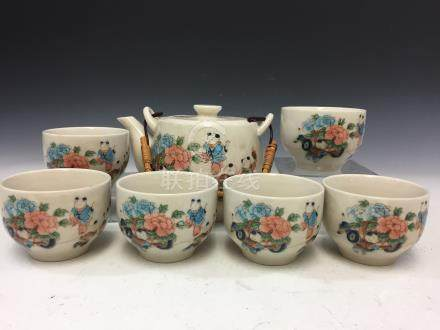 Set of Chinese hand painted porcelain teapot and six