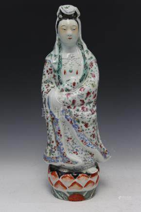 Chinese famille rose porcelain figure of Guanyin, mark