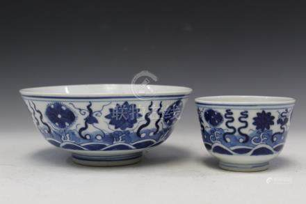 Two blue and white porcelain bowls, 19th Century.
