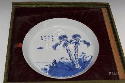 Chinese blue and white porcelain plate in a box, mark
