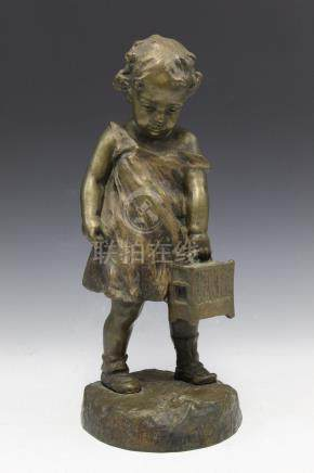 Bronze statue of a girl looking at a dead bird, signed