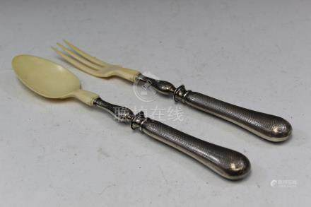 Sterling silver fork and spoon.