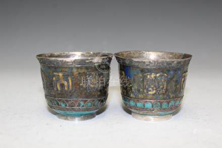 Chinese enameled silver cups, 18th Century.