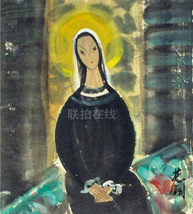 林風眠  修女