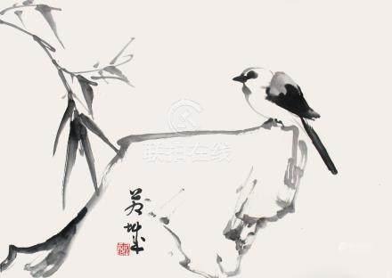 司徒奇  竹石小鳥