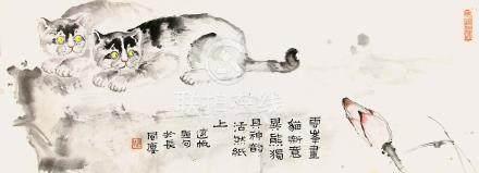 吳雲峯  雙貓圖
