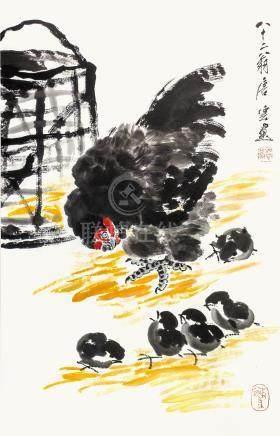 唐雲  母雞與小雞