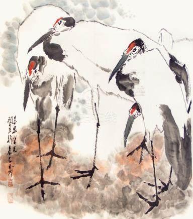 王子武  四鶴圖