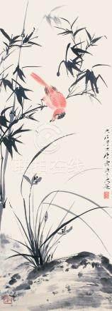 唐雲  蘭竹幽禽圖