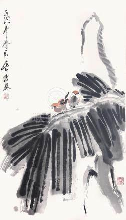 唐雲  芭蕉小鳥