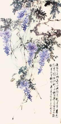 陳半丁·齊子茹合作  蝶舞紫藤