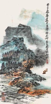 朱屺瞻  山川帆影