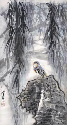 陳珮秋  柳陰小鳥