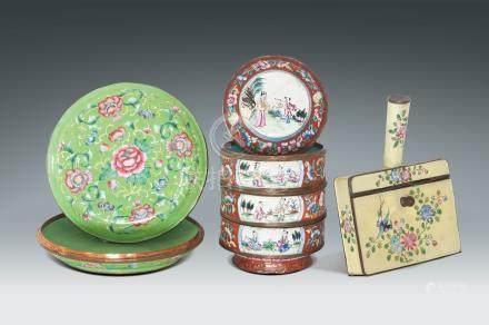 民國  各式琺瑯畫人物花卉紋盒一組三件