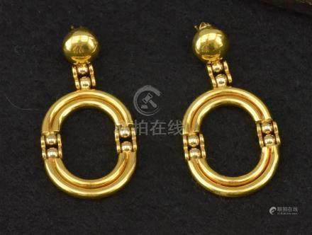 Paire de boucles d'oreilles en or jaune 18 K P. 14 g