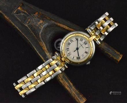 CARTIER montre bracelet en or et acier mouvement à quartz, remontoir cabochon en saphir
