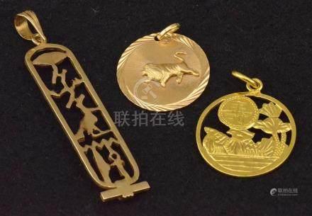 """Pendentif """"Egypte"""" A.C. ? + Médaille (Félonques Egypte) + Médaille """"Lion"""" en or jaune 18 K P. 6"""
