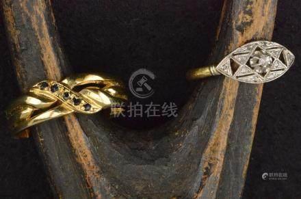 Bague ancienne en or jaune sertie de petits diamants PB. 2,2 g  TDD. 53 et une bague en métal d