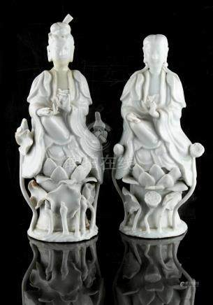 Property of a lady - two Chinese blanc de Chine figures, 19th century, the taller 9.5ins. (24cms.)
