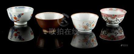 A group of four 18th century Chinese porcelain tea bowls including famille rose (4).