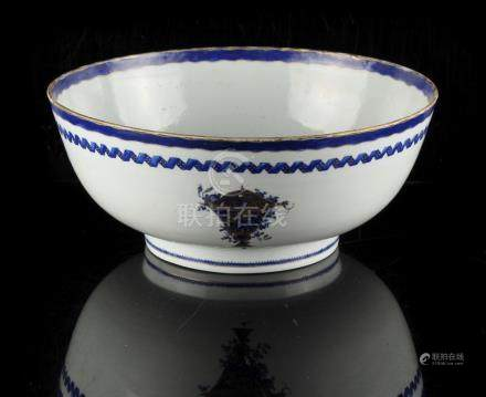 A late 18th century Chinese Qianlong period blue & white export punch bowl, 10.25ins. (26cms.)