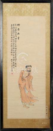 A Chinese painting on paper depicting a standing monk, early 20th century, with calligraphy & red