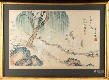 An early 20th century Chinese painting on paper depicting two figures & a horse in landscape, with