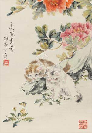 An early / mid 20th century Chinese scroll painting on paper depicting two cats among flowers,