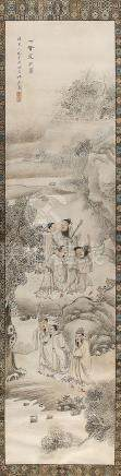 A Chinese painting on paper depicting seven Immortals in landscape, early 20th century, with