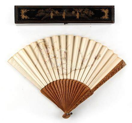 A 19th century Chinese carved sandalwood & embroidered silk fan depicting a bird, butterflies &