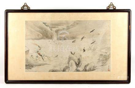 A late 19th / early 20th century Chinese painting on paper depicting birds in river landscape,