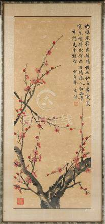A mid 20th century Chinese painting on paper depicting prunus, with calligraphy & two red seals, the