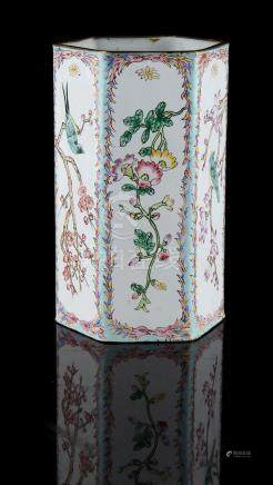 Property of a lady - a Chinese Canton enamel hexagonal vase, decorated with birds among flowering
