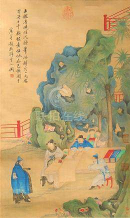 A good 19th century Chinese scroll painting on silk depicting figures at a table in landscape,