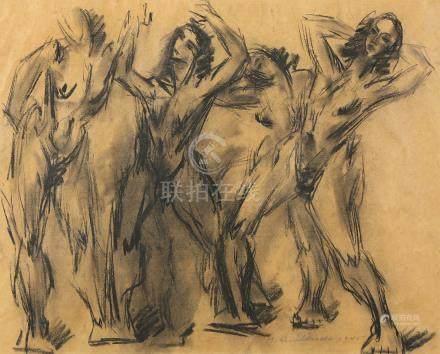 Hans Gustav Burkhardt (American, 1904-1994), Figural Study, 1945, charcoal on paper, signed andd